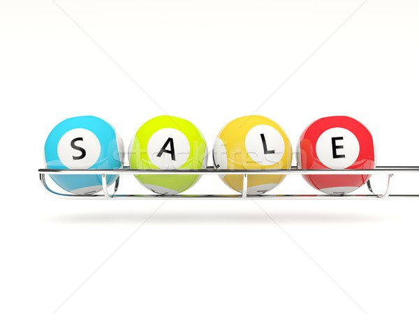 Sale and shopping concept. Lottery balls isolated on white Stock photo © MikhailMishchenko