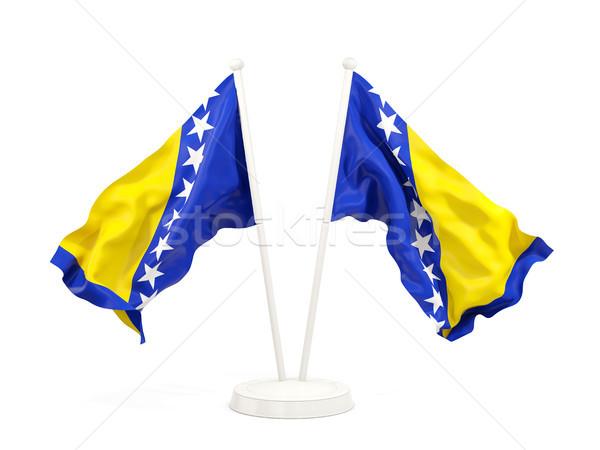 Dos banderas Bosnia Herzegovina aislado blanco Foto stock © MikhailMishchenko