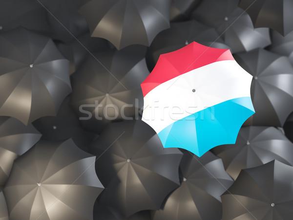 Paraplu vlag Luxemburg top zwarte parasols Stockfoto © MikhailMishchenko