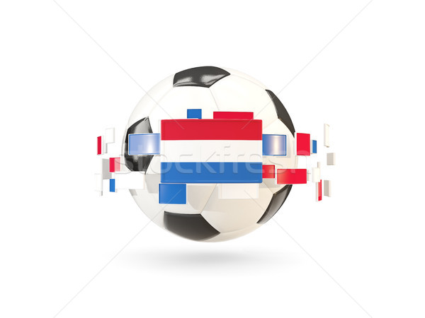 Soccer ball with line of flags. Flag of netherlands Stock photo © MikhailMishchenko