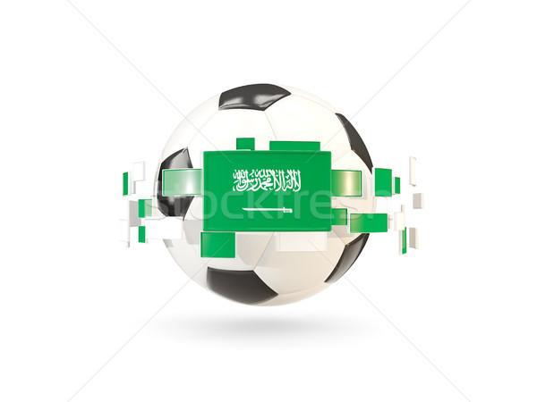 Futballabda vonal zászlók zászló Szaúd-Arábia lebeg Stock fotó © MikhailMishchenko