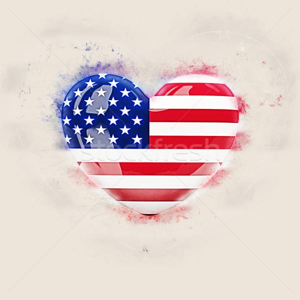 Kalp bayrak Amerika Birleşik Devletleri Amerika grunge 3d illustration Stok fotoğraf © MikhailMishchenko