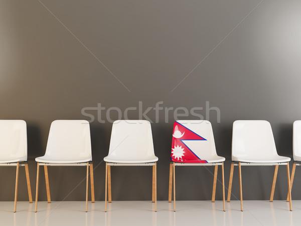 Sandalye bayrak Nepal beyaz sandalye Stok fotoğraf © MikhailMishchenko