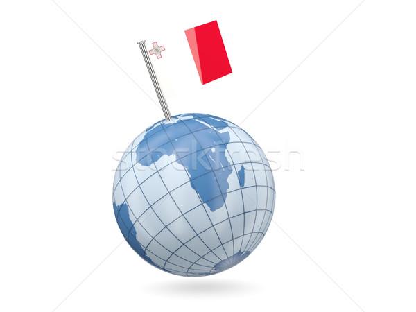 Mundo bandera Malta azul aislado blanco Foto stock © MikhailMishchenko