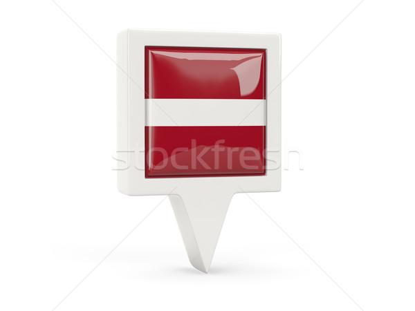 Vierkante vlag icon Letland geïsoleerd witte Stockfoto © MikhailMishchenko