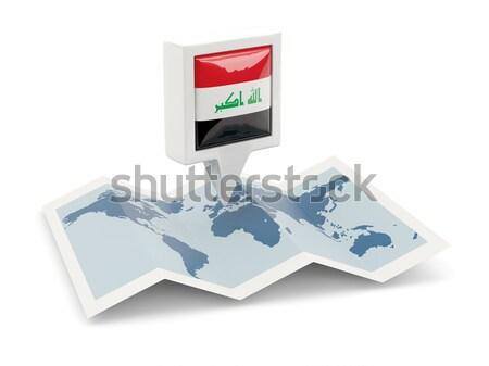 Kare bayrak ikon Özbekistan yalıtılmış beyaz Stok fotoğraf © MikhailMishchenko