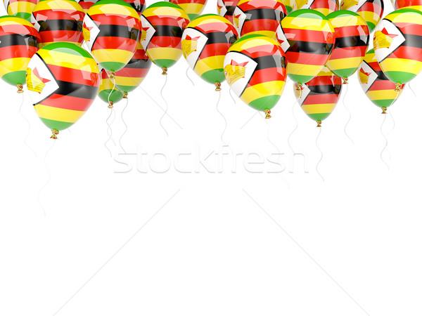 Léggömb keret zászló Zimbabwe izolált fehér Stock fotó © MikhailMishchenko
