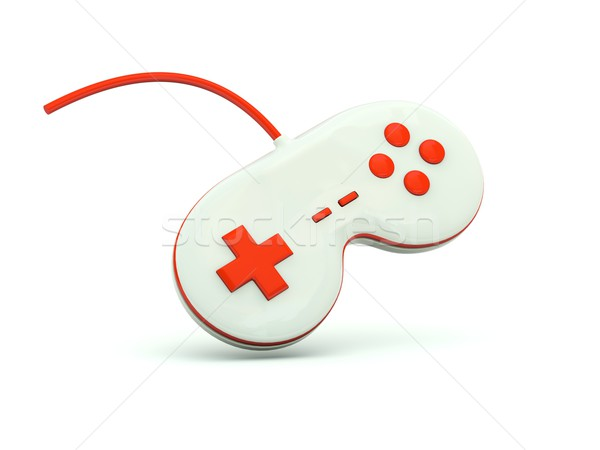 джойстик икона красный технологий игрушку белый Сток-фото © MikhailMishchenko
