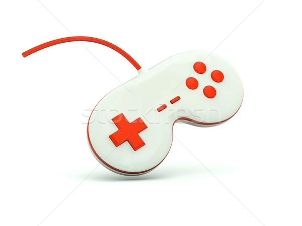 Joystick icône rouge technologie jouet blanche Photo stock © MikhailMishchenko