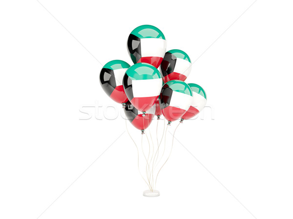 Vliegen ballonnen vlag Koeweit geïsoleerd witte Stockfoto © MikhailMishchenko