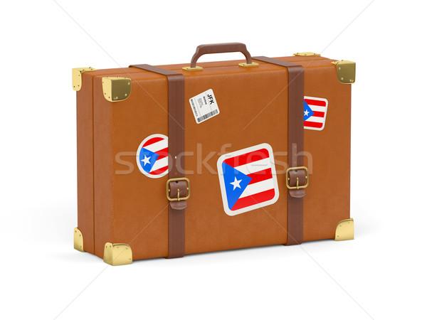 Koffer vlag Puerto Rico reizen geïsoleerd witte Stockfoto © MikhailMishchenko