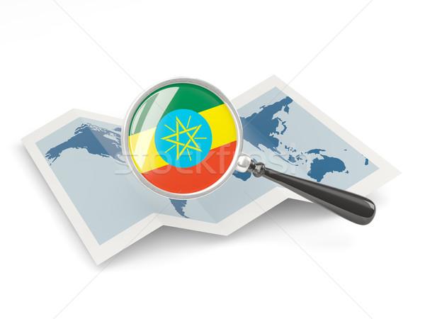Banderą Etiopia Pokaż biały Zdjęcia stock © MikhailMishchenko