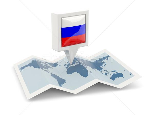 квадратный Pin флаг Россия карта путешествия Сток-фото © MikhailMishchenko