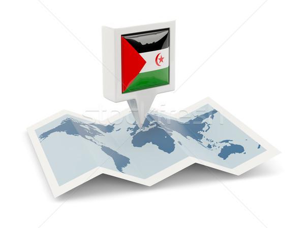 Vierkante pin vlag westerse sahara kaart Stockfoto © MikhailMishchenko