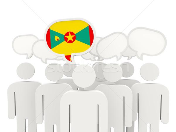 Mensen vlag Grenada geïsoleerd witte vergadering Stockfoto © MikhailMishchenko
