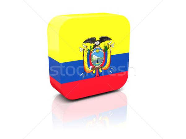 Kare ikon bayrak Ekvador yansıma beyaz Stok fotoğraf © MikhailMishchenko