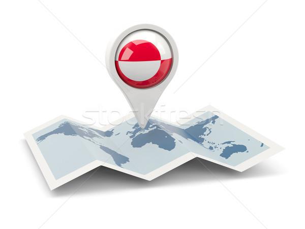 Round pin with flag of greenland Stock photo © MikhailMishchenko