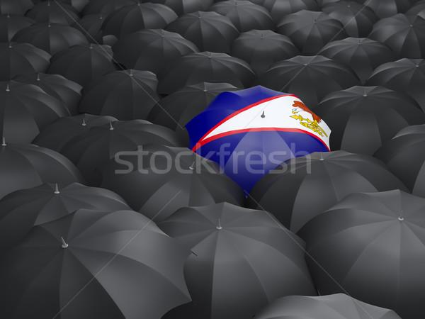 Guarda-chuva bandeira Samoa Americana preto guarda-chuvas chuva Foto stock © MikhailMishchenko