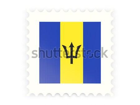 Stok fotoğraf: Kare · etiket · bayrak · Barbados · yalıtılmış · beyaz