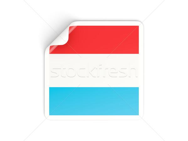 Vierkante sticker vlag Luxemburg geïsoleerd witte Stockfoto © MikhailMishchenko