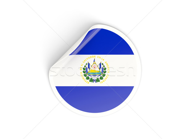 Adesivo bandeira El Salvador isolado branco viajar Foto stock © MikhailMishchenko