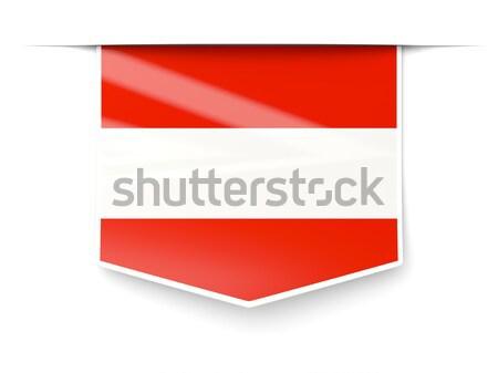 Praça etiqueta bandeira Áustria isolado branco Foto stock © MikhailMishchenko