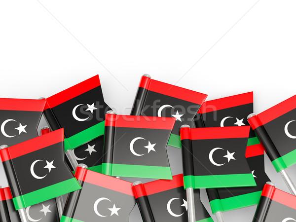 Banderą pin Libia odizolowany biały świat Zdjęcia stock © MikhailMishchenko