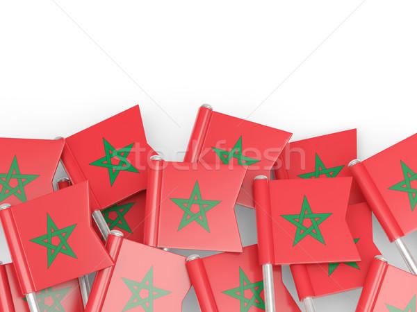 Vlag pin Marokko geïsoleerd witte achtergrond Stockfoto © MikhailMishchenko