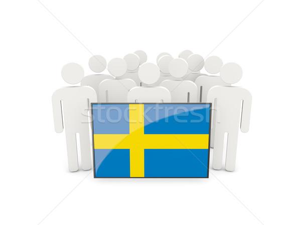 Emberek zászló Svédország izolált fehér tömeg Stock fotó © MikhailMishchenko