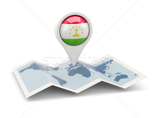 Tő zászló Tádzsikisztán térkép utazás fehér Stock fotó © MikhailMishchenko