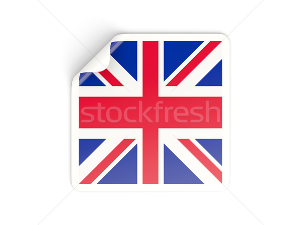 Piazza adesivo bandiera Regno Unito isolato bianco Foto d'archivio © MikhailMishchenko