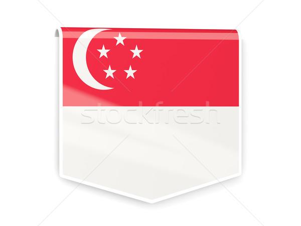 Zászló címke Szingapúr izolált fehér világ Stock fotó © MikhailMishchenko