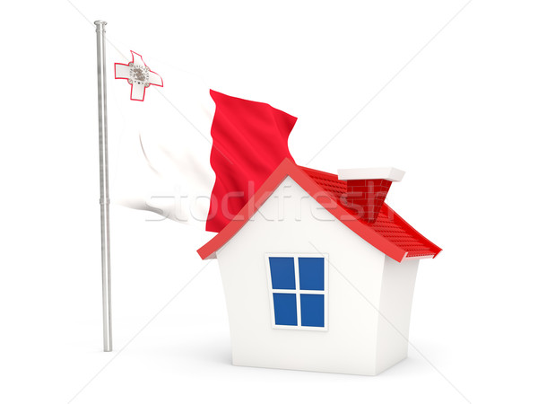 Stockfoto: Huis · vlag · Malta · geïsoleerd · witte · home