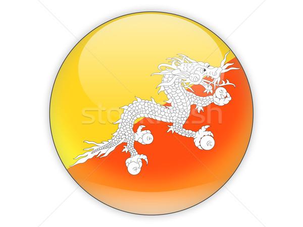 Foto stock: ícone · bandeira · Butão · isolado · branco · viajar