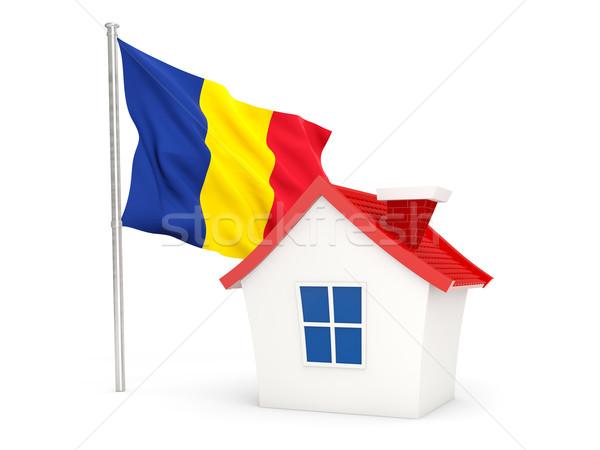 Ev bayrak Romanya yalıtılmış beyaz ev Stok fotoğraf © MikhailMishchenko