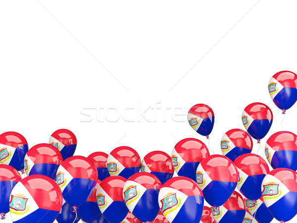 Vliegen ballonnen vlag geïsoleerd witte reizen Stockfoto © MikhailMishchenko