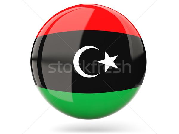 Ikona banderą Libia podpisania biały Zdjęcia stock © MikhailMishchenko