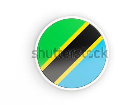 Aufkleber Flagge Tansania isoliert weiß Reise Stock foto © MikhailMishchenko