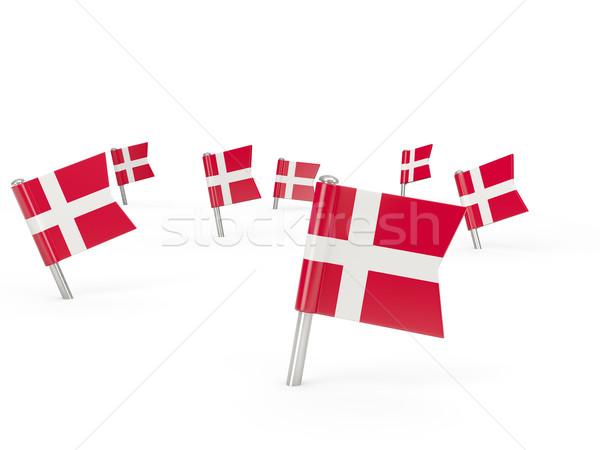 Tér zászló Dánia izolált fehér vidék Stock fotó © MikhailMishchenko