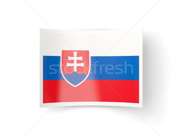 ícone bandeira Eslováquia isolado branco país Foto stock © MikhailMishchenko