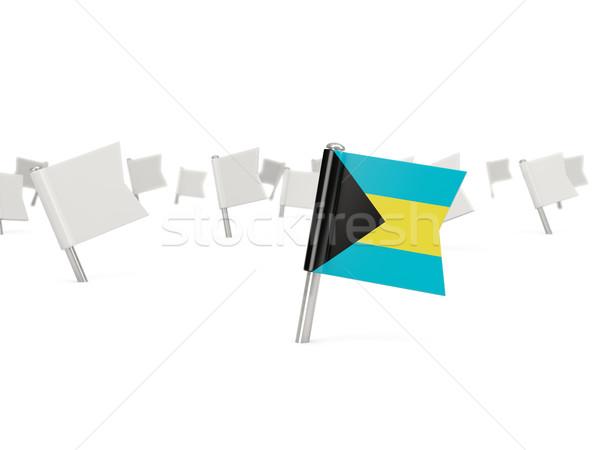 Tér tő zászló Bahamák izolált fehér Stock fotó © MikhailMishchenko