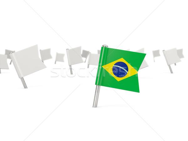 квадратный Pin флаг Бразилия изолированный белый Сток-фото © MikhailMishchenko