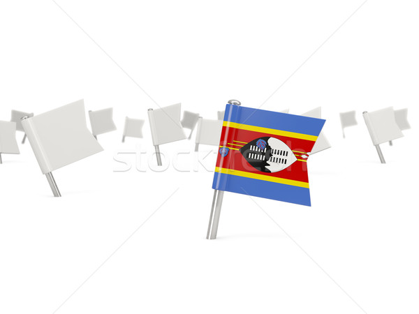 Square pin with flag of swaziland Stock photo © MikhailMishchenko
