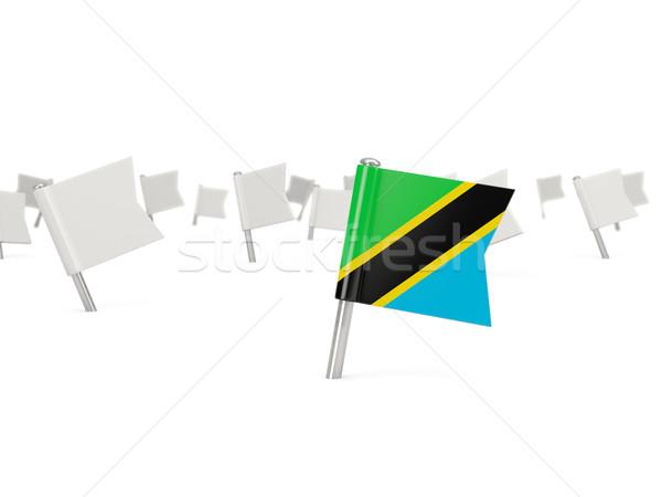 квадратный Pin флаг Танзания изолированный белый Сток-фото © MikhailMishchenko