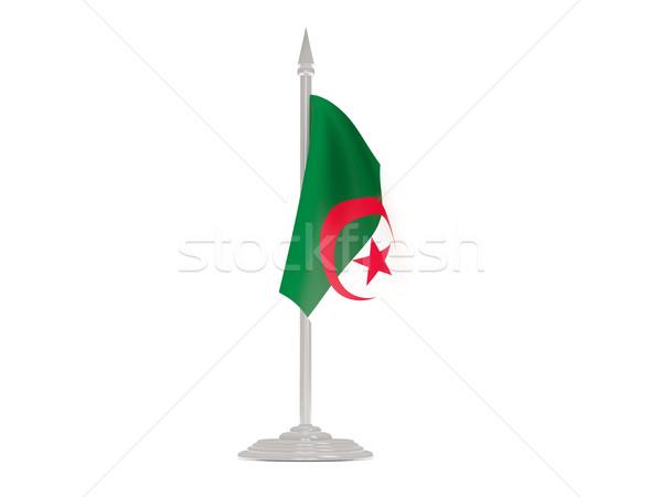 Bandera Argelia asta de bandera 3d aislado blanco Foto stock © MikhailMishchenko