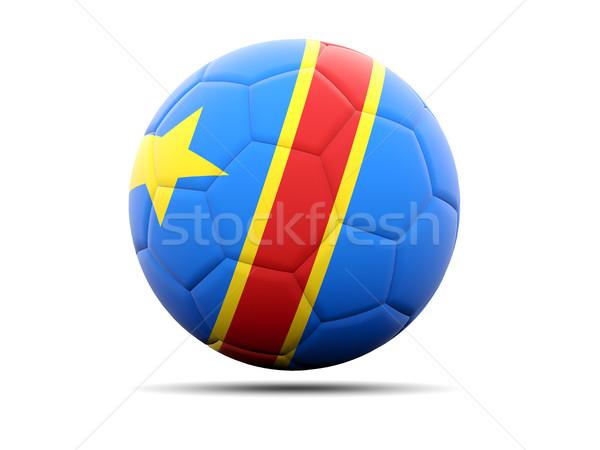 Piłka nożna banderą demokratyczny republika Congo 3d ilustracji Zdjęcia stock © MikhailMishchenko