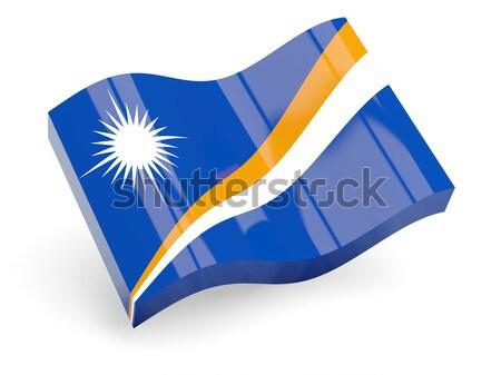 Flagge Welle Symbol isoliert weiß 3D-Darstellung Stock foto © MikhailMishchenko