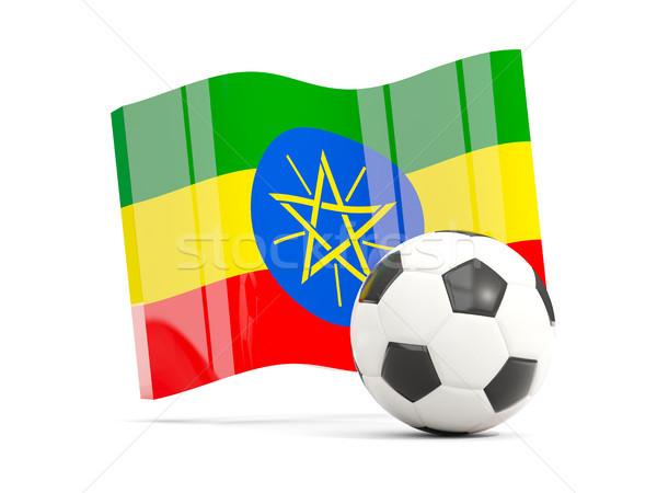 Piłka nożna banderą odizolowany biały 3d ilustracji Zdjęcia stock © MikhailMishchenko