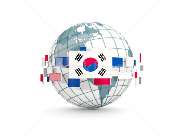 Globe with flag of korea south isolated on white Stock photo © MikhailMishchenko