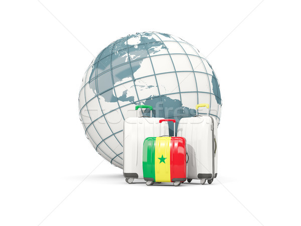 Bagages pavillon trois sacs monde 3d illustration Photo stock © MikhailMishchenko